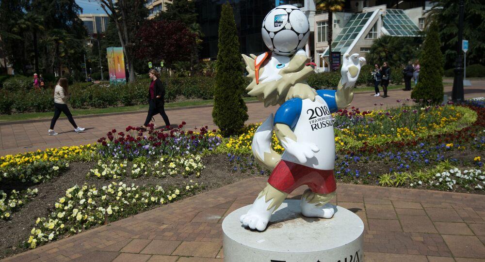 Tượng linh vật Zabivaka của World Cup 2018 ở Sochi