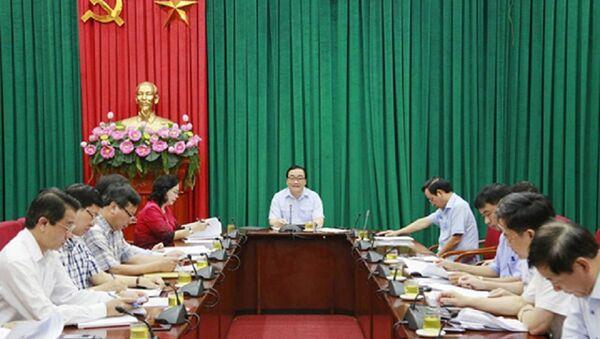 Bí thư Thành ủy Hà Nội Hoàng Trung Hải chủ trì phiên họp sáng ngày 2.5. - Sputnik Việt Nam