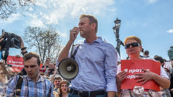 Russian opposition leader Alexei Navalny (C) attends a protest rally ahead of President Vladimir Putin's inauguration ceremony, Moscow, Russia May 5, 2018 - Sputnik Việt Nam