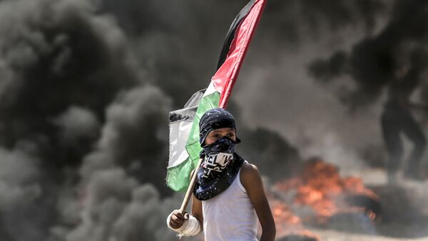 Người biểu tình Palestine trong cuộc đụng độ với binh sĩ Israel trên biên giới Dải Gaza và Israel - Sputnik Việt Nam