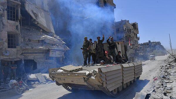Quân đội Syria đã quét sạch kẻ thù tại điểm dân cư El-Hajr al-Aswad - Sputnik Việt Nam