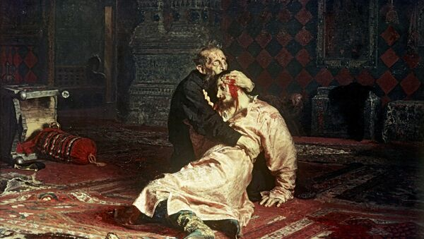 Phiên bản tranh của họa sĩ Ilya Repin Ivan Lôi đế  và con trai Ivan ngày 16 tháng 11 năm 1581, năm 1885. - Sputnik Việt Nam