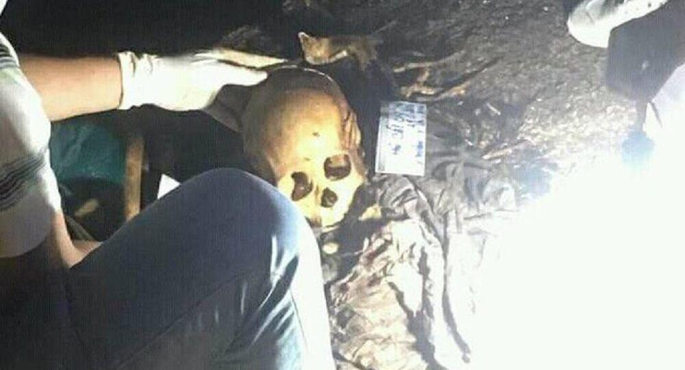 Hộp sọ người tại vị trí phát hiện.