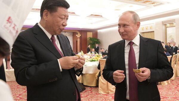 Tổng thống Vladimir Putin tại buổi chiêu đãi của Chủ tịch Trung Quốc Tập Cận Bình tại Thiên Tân. - Sputnik Việt Nam