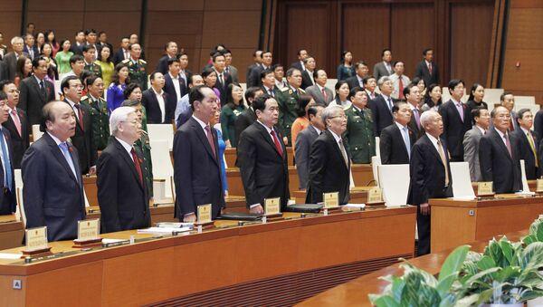 Các đồng chí lãnh đạo, nguyên lãnh đạo Đảng, Nhà nước và các đại biểu Quốc hội dự lễ Bế mạc kỳ họp thứ năm, Quốc hội khóa XIV. - Sputnik Việt Nam