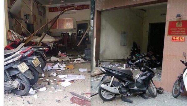 Hiện trường vụ nổ tại trụ sở Công an phường 12, quận Tân Bình. - Sputnik Việt Nam