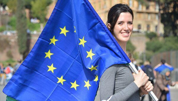 Участница митинга сторонников Евросоюза. Архивное фото - Sputnik Việt Nam
