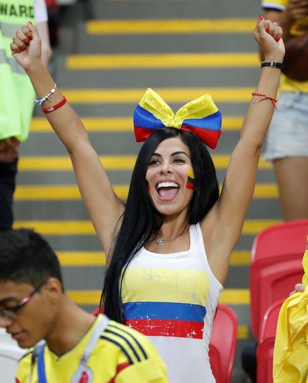 Fan nữ của đội tuyển quốc gia Colombia sau trận đấu vòng bảng World Cup FIFA giữa các đội tuyển quốc gia Ba Lan và Colombia - Sputnik Việt Nam