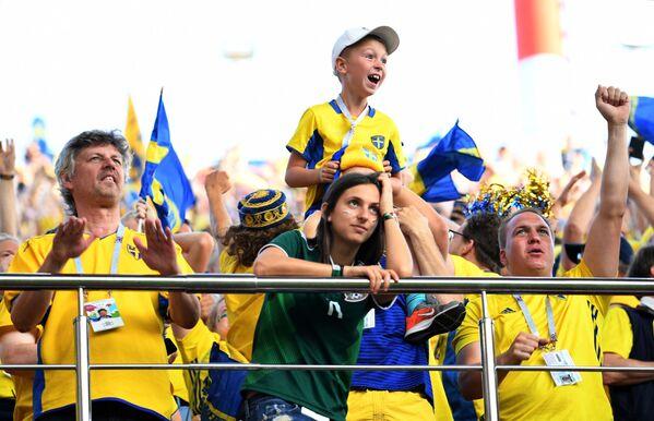 Người hâm mộ đội tuyển quốc gia Thụy Điển trong trận đấu vòng bảng World Cup FIFA giữa các đội tuyển quốc gia Mexico và Thụy Điển - Sputnik Việt Nam