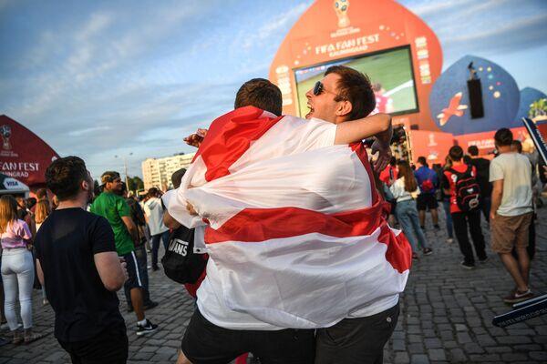 Người hâm mộ đội tuyển Anh trong trận đấu vòng bảng World Cup giữa hai đội tuyển quốc gia Tunisia và Anh - Sputnik Việt Nam