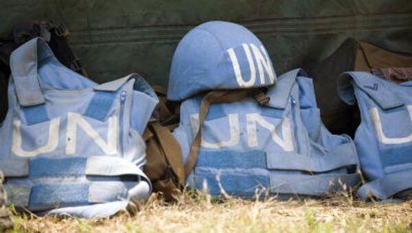 Mũ và áo chống đạn của binh sĩ thuộc lực lượng gìn giữ hòa bình LHQ - Sputnik Việt Nam