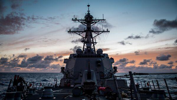 Tàu Mỹ USS Dewey tại cuộc tập trận Vành đai Thái Bình Dương lần thứ 26 (RIMPAC 2018) - Sputnik Việt Nam