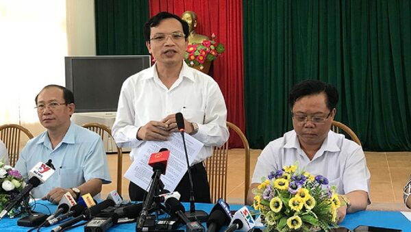 Tổ công tác của Bộ GD-ĐT và đại diện chính quyền tỉnh Sơn La gặp gỡ báo chí ngày 23.7 để trao đổi về kết quả xác minh bất thường điểm thi - Sputnik Việt Nam