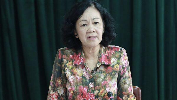 Đồng chí Trương Thị Mai phát biểu tại buổi làm việc với Tổng LĐLĐVN - Sputnik Việt Nam