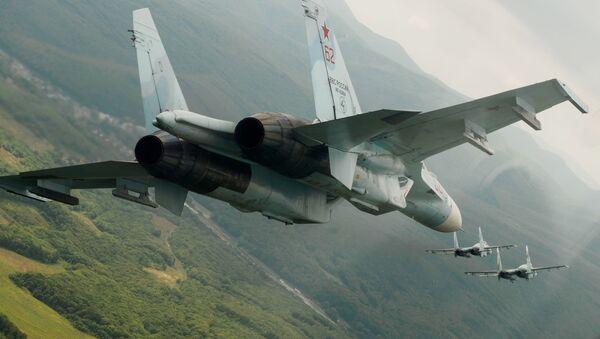 Máy bay chiến đấu đa năng Su-27 của Nga trong chuyến bay trình diễn tại trung đoàn hàng không của Quân khu Đông Nam vinh danh kỷ niệm 105 năm Ngày Không quân Nga - Sputnik Việt Nam