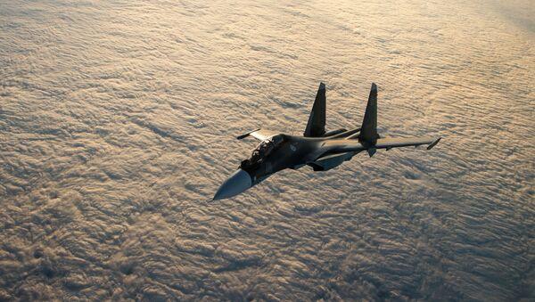 Máy bay chiến đấu đa năng Su-30SM trong các bài tập chiến thuật của không quân hải quân Hạm đội Biển Đen - Sputnik Việt Nam