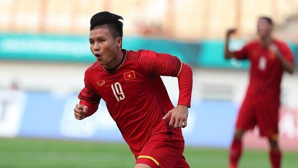 Cầu thủ Quang Hải ăn mừng sau khi ghi bàn thắng mở tỷ số cho U23 Việt Nam. - Sputnik Việt Nam
