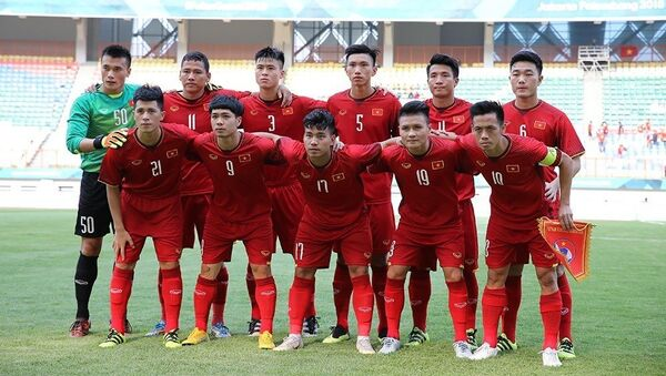 Đội hình ra sân của Olympic Việt Nam. - Sputnik Việt Nam