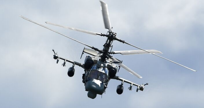 Trực thăng Ka-52 trong khi diễn đàn quân sự-kỹ thuật quốc tế thường niên Quân đội 2018