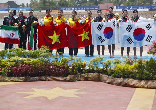 Đội tuyển rowing Việt Nam giành HCV tại ASIAD.
