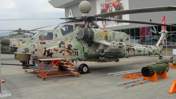 Máy bay trực thăng tấn công Mi-28 NE Thợ săn đêm tại Diễn đàn Quân đội-2018 - Sputnik Việt Nam
