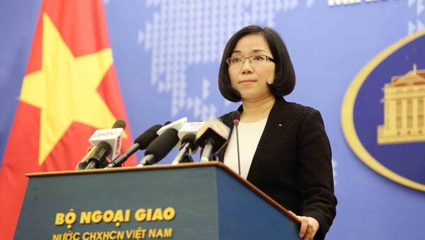 Phó Phát ngôn Nguyễn Phương Trà trả lời câu hỏi của phóng viên các cơ quan thông tấn, báo chí. - Sputnik Việt Nam