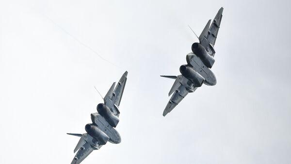 Hai máy bay chiến đấu thế hệ thứ năm Su-57  - Sputnik Việt Nam