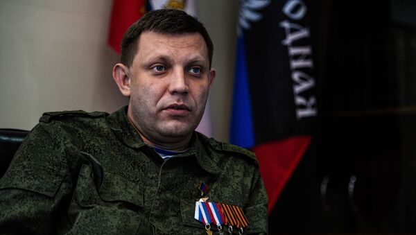 Alexander Zakharchenko, head of the self-proclaimed Donetsk People's Republic (DNR), speaks during an interview at his office in the eastern Ukrainian city of Donetsk on April 8, 2015 - Sputnik Việt Nam