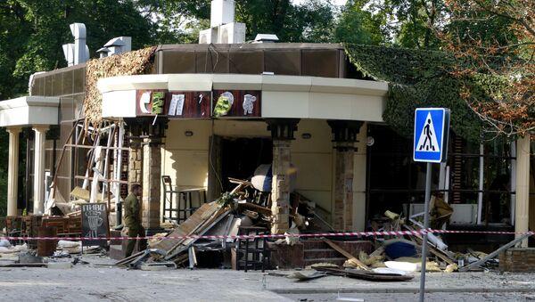 Tòa nhà  quán cà phê Separ ở Donetsk, nơi xảy ra vụ nổ khiến  người đứng đầu DNR Alexandr Zakharchenko tử vong. - Sputnik Việt Nam