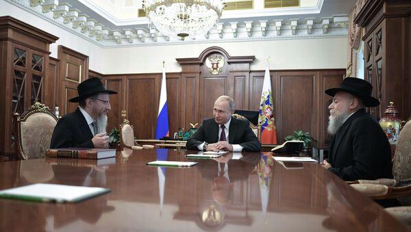 Tổng thống Nga Vladimir Putin gặp ông Berel Lazar và ông Alexander Boroda - Sputnik Việt Nam