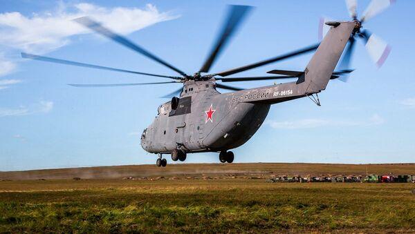 Máy bay trực thăng quân sự của Không quân Nga tới địa điểm tham gia cuộc diễn tập chiến lược Vostok-2018 - Sputnik Việt Nam