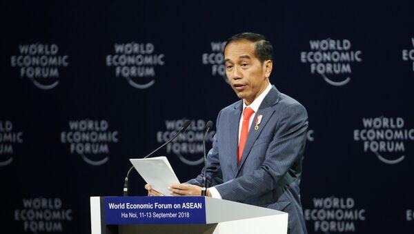 Tổng thống Indonesia Joko Widodo phát biểu tại Phiên khai mạc toàn thể WEF ASEAN 2018 - Sputnik Việt Nam