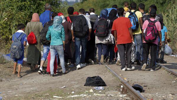 Nhóm di dân vượt biên giới Hungary theo đường xe lửa từ phía Serbia - Sputnik Việt Nam