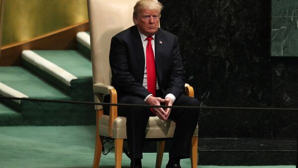 U.S. President Donald Trump sits in the chair reserved for heads of state before delivering his address during the 73rd session of the United Nations General Assembly at U.N. headquarters in New York, U.S., September 25, 2018 - Sputnik Việt Nam