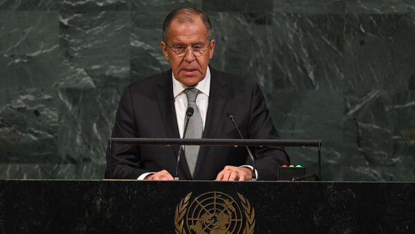 Министр иностранных дел России Сергей Лавров выступает на Генеральной Ассамблее ООН - Sputnik Việt Nam
