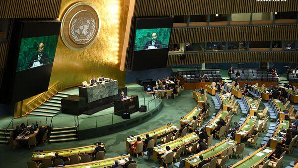 Thủ tướng Nguyễn Xuân Phúc phát biểu tại phiên thảo luận cấp cao Đại hội đồng Liên Hợp Quốc. - Sputnik Việt Nam