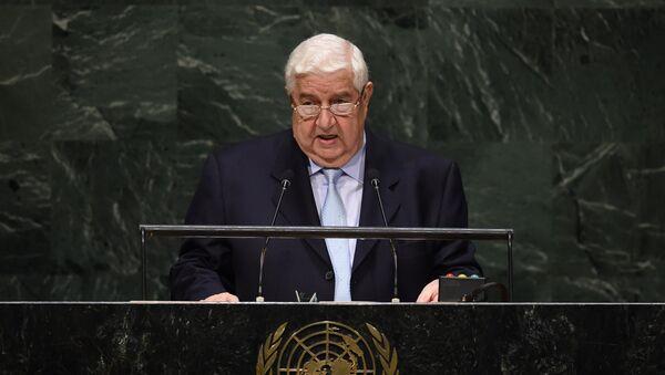Ministro de Exteriores de Siria, Walid Muallem durante la 69º sesión de la Asamblea General de la ONU - Sputnik Việt Nam