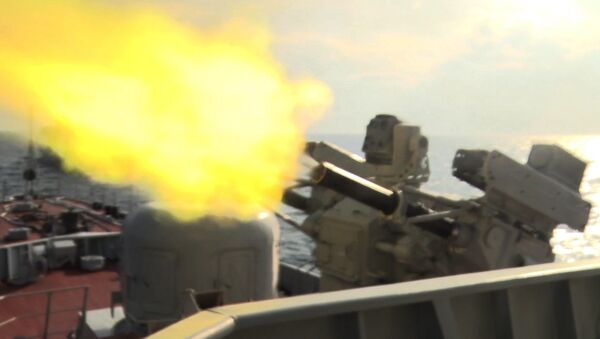 Hỏa lực của tàu chiến đấu Lữ đoàn 162 tiêu diệt mục tiêu trên không - Sputnik Việt Nam