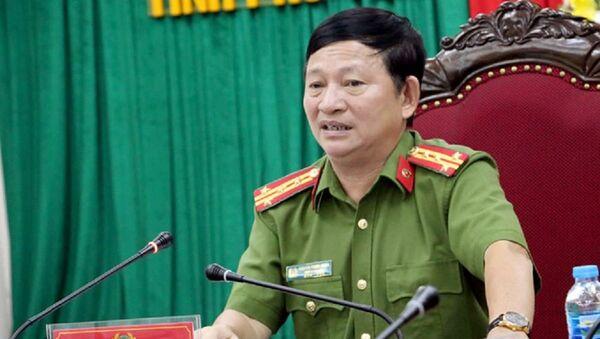 Đại tá Nguyễn Trung Nghĩa, Phó giám đốc Công an tỉnh Phú Yên chủ trì buổi họp báo - Sputnik Việt Nam
