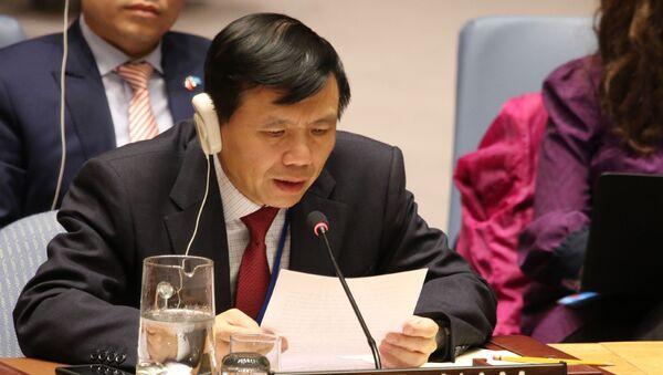 Đại sứ, Trưởng Phái đoàn thường trực Việt Nam tại LHQ Đặng Đình Quý phát biểu tại phiên thảo luận. - Sputnik Việt Nam