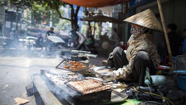Một phụ nữ bán quà vặt trên đường phố Hà Nội - Sputnik Việt Nam