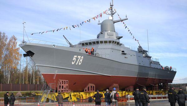 Hạ thủy tàu tên lửa lọa nhỏ thuộc dự án Burya ở St. Peterburg - Sputnik Việt Nam