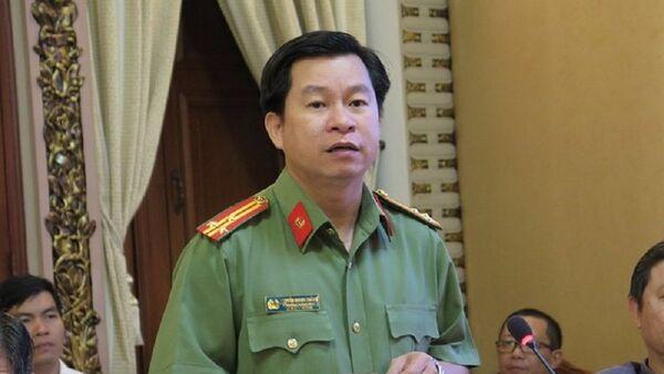 Thượng tá Nguyễn Quang Thắng – Phó trưởng Phòng Tham mưu Công an TP.HCM trả lời báo chí. - Sputnik Việt Nam