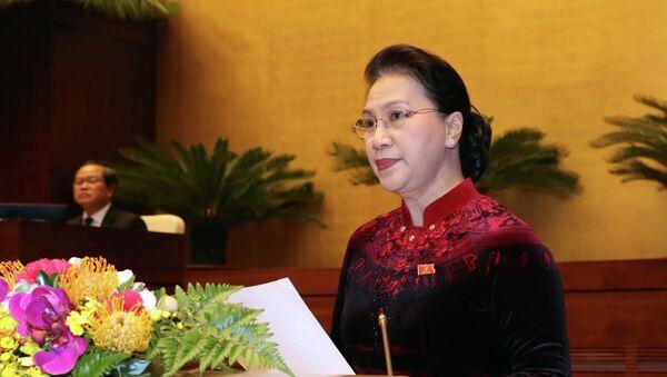 Chủ tịch Quốc hội Nguyễn Thị Kim Ngân phát biểu bế mạc Kỳ họp thứ sáu, Quốc hội khóa XIV. - Sputnik Việt Nam