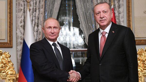 Tổng thống Nga Vladimir Putin và Tổng thống Thổ Nhĩ Kỳ Recep Tayyip Erdogan trong cuộc gặp tại Istanbul - Sputnik Việt Nam