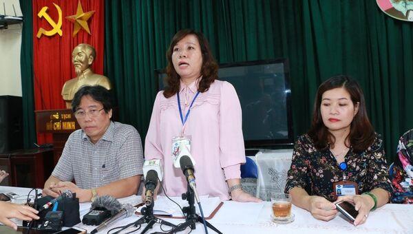 Bà Lê Anh Vân, Hiệu trưởng trường Tiểu học Quang Trung thông tin về vụ việc cô giáo bị tố cho học sinh tát bạn 50 cái. - Sputnik Việt Nam