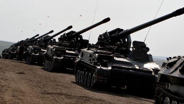 Cuộc thi giữa các khẩu đội pháo tự hành Lực lượng Lục quân LB Nga - Sputnik Việt Nam