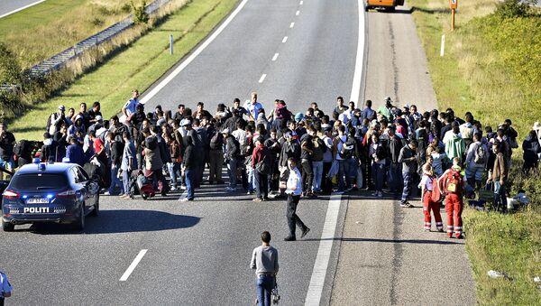 Một nhóm người tị nạn trên xa lộ Đan Mạch - Sputnik Việt Nam