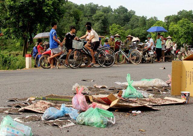 Người dân mang ruồi ra chặn xe chở rác ở Nam Sơn