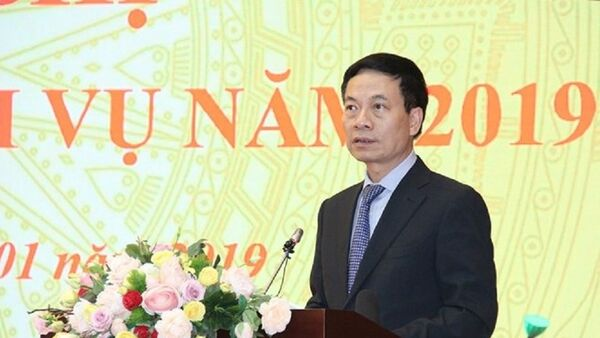 Bộ trưởng Nguyễn Mạnh Hùng phát biểu tại hội nghị. - Sputnik Việt Nam